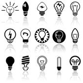 Light bulbs vector icons set. — Stock Vector