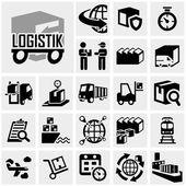 Logistics vector icon set on gray — Stock Vector