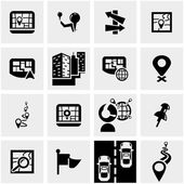 Navigation vector icon set on gray — Stock Vector