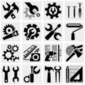 Tools vector icons set on gray — Stock Vector