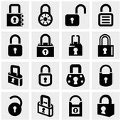 Lock vector icons set on gray — Stock Vector