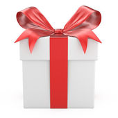 White gift box with red ribbon bow — Stock Photo
