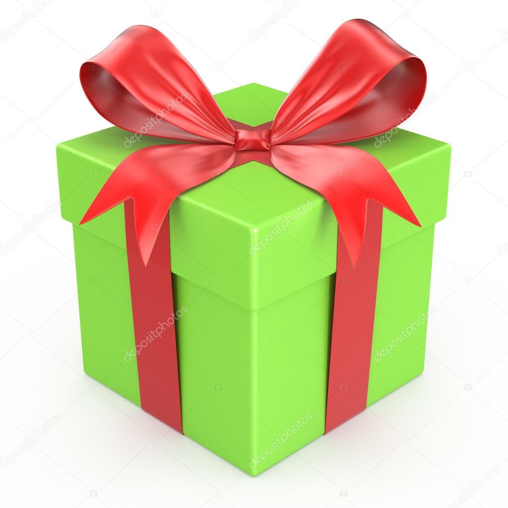 bo te de cadeau vert avec noeud de ruban rouge photographie alexynder 39022097. Black Bedroom Furniture Sets. Home Design Ideas