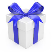 White gift with a blue ribbon and a bow — Stock Photo