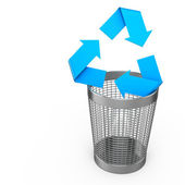 Steel wastebasket with recycle symbol — Stock Photo