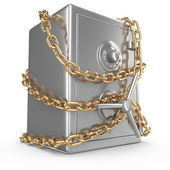 Bank safe with golden chain and padlock — Stock Photo