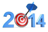 2014 with dartboard — Stock Photo