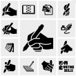 Writing icons set on gray. — Stock Vector #46624835