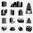 Building vector icons set on gray — Stock Vector #46624887