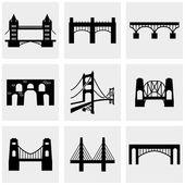 Bridge icons set on gray — Stock Vector