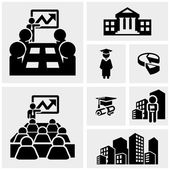Business vector icons set on gray — Stock Vector
