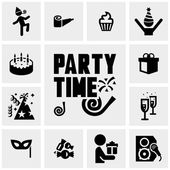 Party vector icons set on gray — Stock Vector