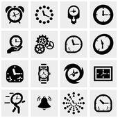 Relógios vetoriais ícones definido na cinza — Vetor de Stock