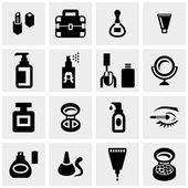 Cosmetics vector icons set on gray — Stock Vector
