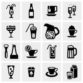 Drink vector icons set on gray — Stock Vector