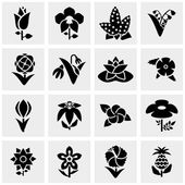 Flower vector icons set on gray — Stock Vector