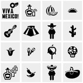 Mexico vector icons set on gray — Stock Vector