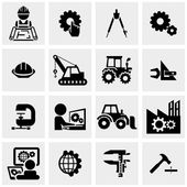 Engineering vector icons set on gray — Stock Vector