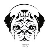 Black and white pug dog — Stock Vector