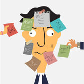 Very busy man — Stock Vector