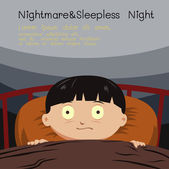Nightmare and sleepless night — Stock Vector