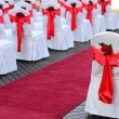 Wedding chairs and red carpet. — Stock Photo #29587865
