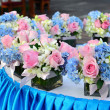 Stock Photo: Flower decorated on table in wedding celebration.