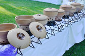 Clay pot in wedding dinner. — Stock Photo