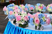 Flower decorated on table in wedding celebration. — Stock Photo