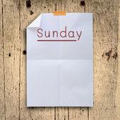 Niedzielę planujemy biały złożyć papier projekt retro ścianka jednopowłokowa — Zdjęcie stockowe