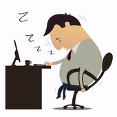 Sleepy at work — Stock Vector