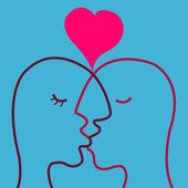 Lovers kissing — Stock Vector