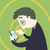 Smartphone addiction — Stock Vector