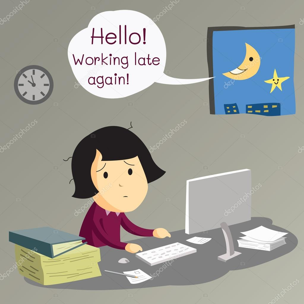 w working late stock vector copy jesadaphorn  business w working in her office in very late at night until the moon and star greeting her for her late working business concept on hard working for