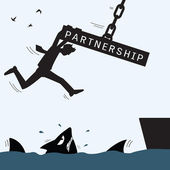 Partnership helping and survive — Stock Vector