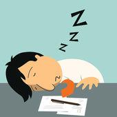 Sleeping at work — Stock Vector
