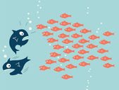 Fish teamwork — Stock Vector