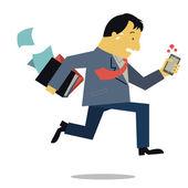 Boss running in rush hour — Stock Vector