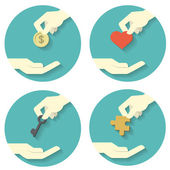 Hand pick and give icons — Stock Vector
