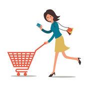 Winkelen vrouw — Stockvector
