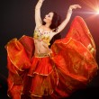Fashoin portrait of arabian belly dancer with bright makeup — 图库照片