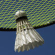 Smash in badminton sport — Stock Photo