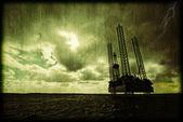 Offshore oil platform illustration — Stock Photo