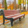 Bench in the beautiful autumn park after rain — Stock Photo
