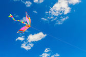Rainbow kite flies in the blue sky — Stock Photo