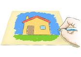 Hand drawing house — Stockvector