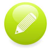Bouton internet crayon pictogram groen — Stockvector