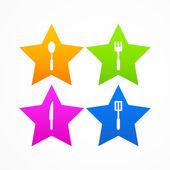 Abstract set kitchen star logo — Stock Vector