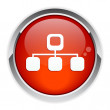 Button web Network Information icon red — Imagen vectorial