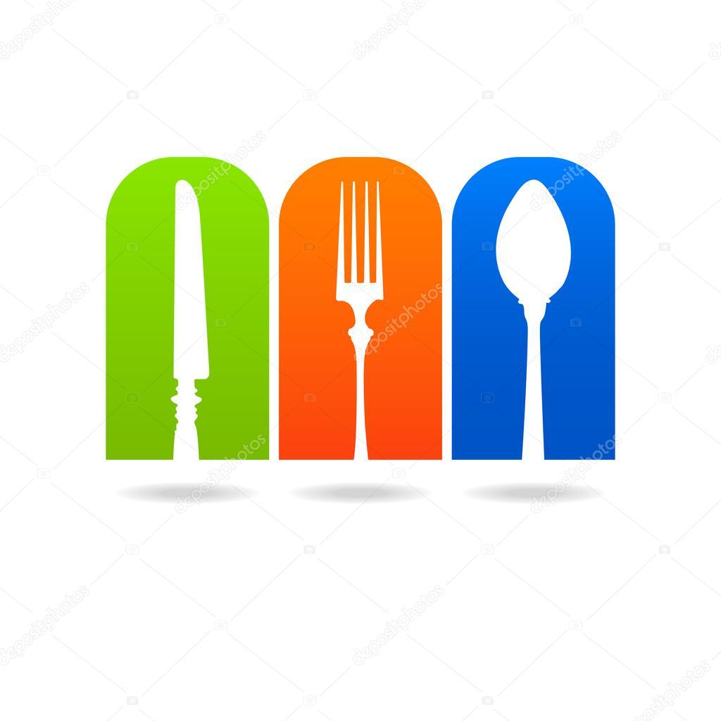 Logotipo de faca cozinha garfo colher — Vetor de Stock ...